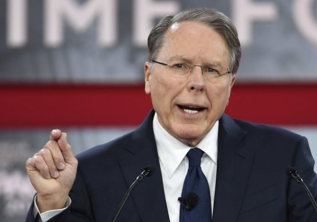 National Rifle Association Executive Vice President Wayne LaPierre speaks at CPAC on February 22 in National Harbor, Md. The gun rights organization has increased fundraising efforts since a mass shooting killed 17 people at a Florida high school on Feb. 14. File Photo by Mike Theiler/UPI
