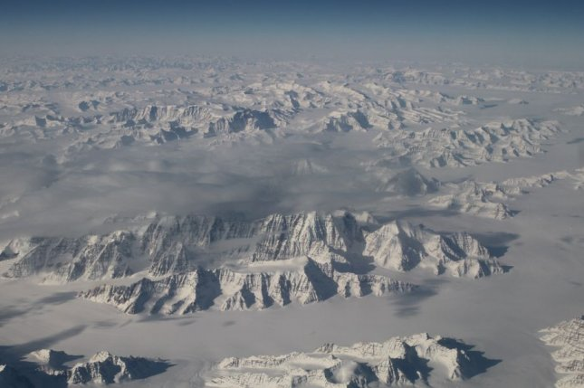 New research suggests meltwater from the Greenland Ice Sheet shepherds significant amounts of methane into the atmosphere during the spring and summer. Photo by NASA/UPI