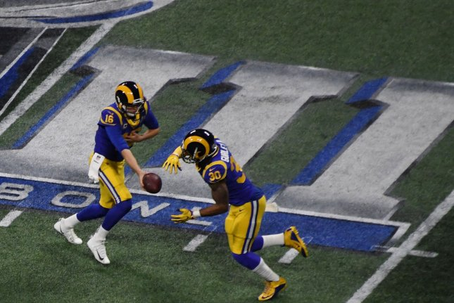 Los Angeles Rams running back Todd Gurley struggled to get in a rhythm on the ground in a 13-3 loss to the New England Patriots in Super Bowl LIII on Sunday in Atlanta. Photo by Jon SooHoo/UPI