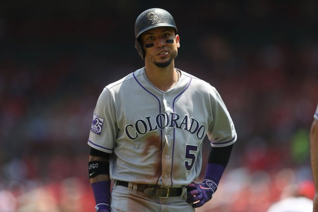 Veteran outfielder Carlos Gonzalez played in 30 games this season with the Cleveland Indians, hitting .210 with two home runs and seven runs batted in. File Photo by Bill Greenblatt/UPI