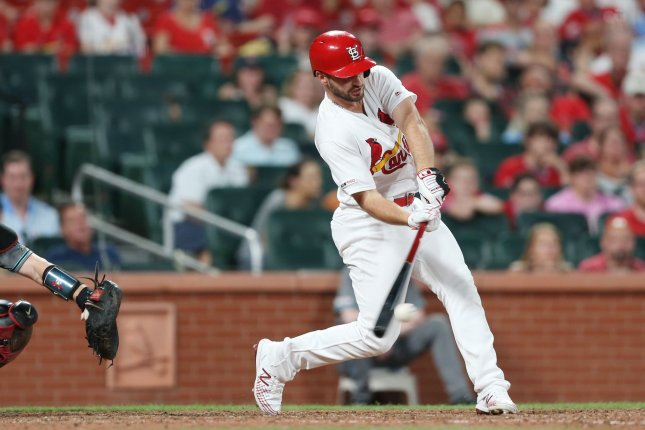 St. Louis Cardinals shortstop Paul DeJong now has 18 home runs on the season after going deep three times against the Pirates Wednesday in Pittsburgh. Photo by Bill Greenblatt/UPI