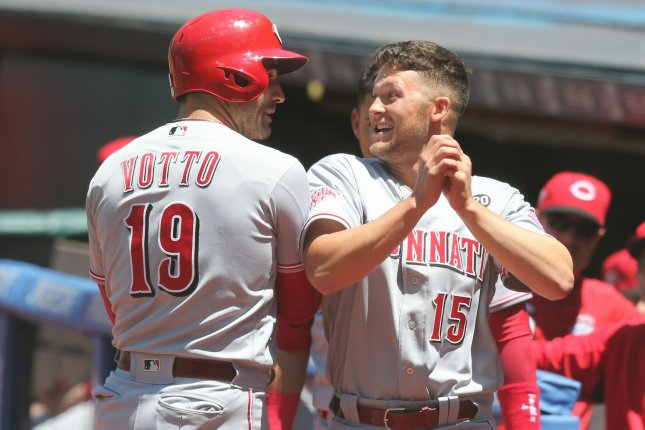 Joey Votto (19) and Nick Senzel (15) are expected to be two of the Cincinnati Reds' key players in 2020. File Photo by Aaron Josefczyk/UPI