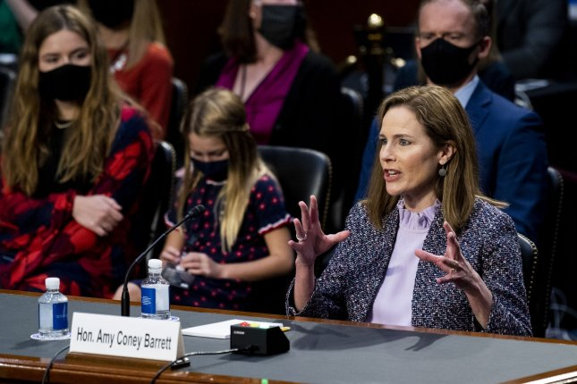 Supreme Court nominee Judge Amy Coney Barrett answers questions Wednesday on the third day of her confirmation hearing before the Senate Judiciary Committee, on Capitol Hill in Washington, D.C. Pool photo by Bill Clark/UPI