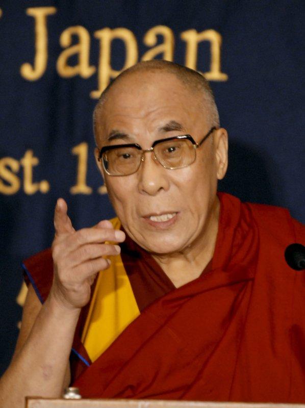 The 14th Dalai Lama attends a press conference in Tokyo, Japan, on October 31, 2009. UPI/Keizo Mori