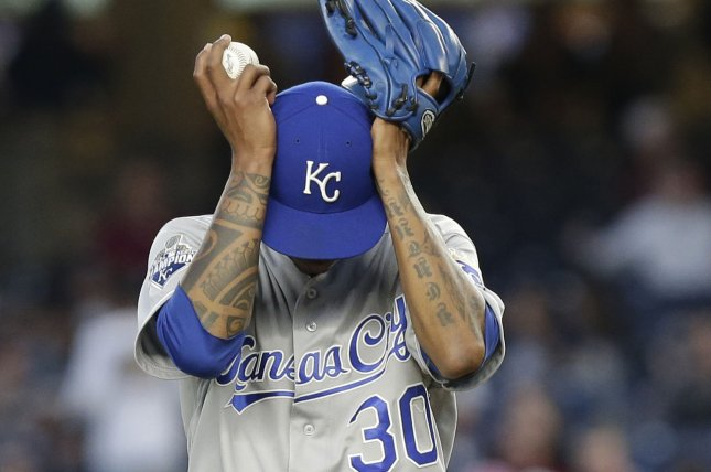 Kansas City Royals starting pitcher Yordano Ventura adjusted his hat in the 2nd inning against the New York Yankees at Yankee Stadium in New York City on May 11, 2016. Photo by John Angelillo/UPI