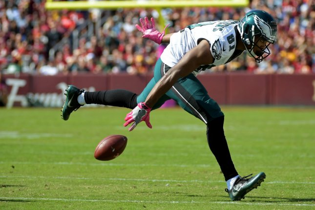 Philadelphia Eagles wide receiver Jordan Matthews (81) drops a long pass against the Washington Redskins in the first quarter at FedEx Field in Landover, Maryland on October 16, 2016. Photo by Kevin Dietsch/UPI