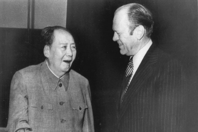 President Gerald Ford (R) met with Chairman Mao Tse-tung of the People's Republic of China in Peking during his official visit that took place from December 1-5, 1975. Mao was laid to rest in China on September 18, 1976. UPI File Photo
