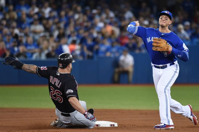 Former Toronto Blue Jays shortstop Troy Tulowitzki (R) signed with the New York Yankees in January. He hit a home run in his first at-bat with the club during a spring training appearance Monday in Tampa, Fla. File Photo by Darren Calabrese/UPI