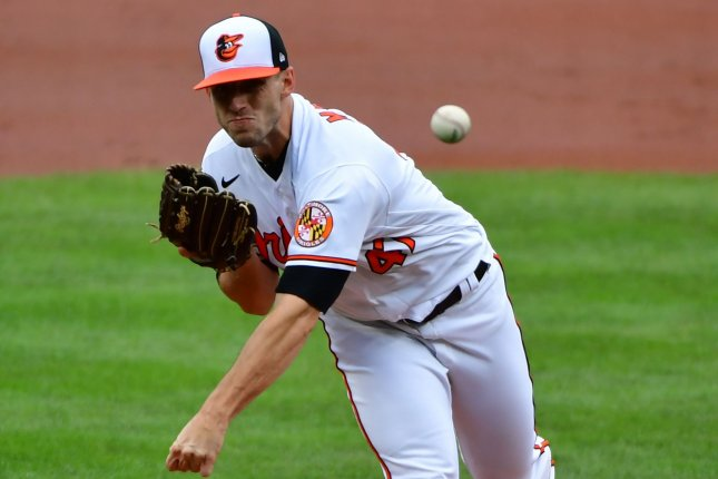 Baltimore Orioles starting pitcher John Means, shown Aug. 16, 2020, tossed the first individual no-hitter for the Orioles since Jim Palmer in 1969. File Photo by David Tulis/UPI