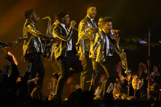 Bruno Mars performs at the halftime show at the Super Bowl XLVIII at MetLife Stadium in East Rutherford, New Jersey on February 2, 2014. MetLife Stadium hosts the NFL's first outdoor cold weather Super Bowl. UPI/Rich Kane