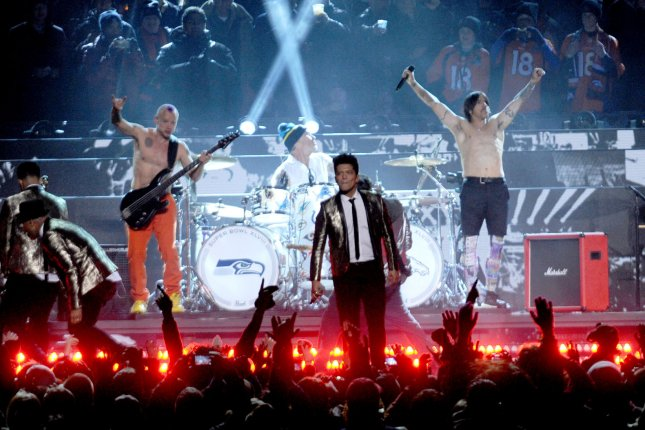 Bruno Mars performs the halftime show with the Red Hot Chili Peppers at the Super Bowl XLVIII at MetLife Stadium in East Rutherford, New Jersey on February 2, 2014. UPI/Dennis Van Tine