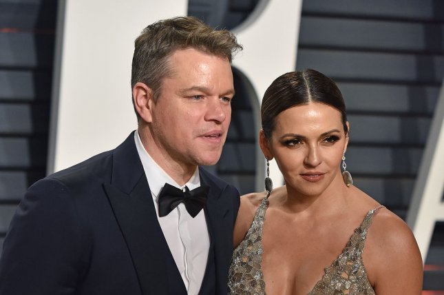 Matt Damon and his wife Luciana Barroso attend the Vanity Fair Oscar Party in Beverly Hills on February 26. Damon is narrating the new documentary Boston. File Photo by Christine Chew/UPI