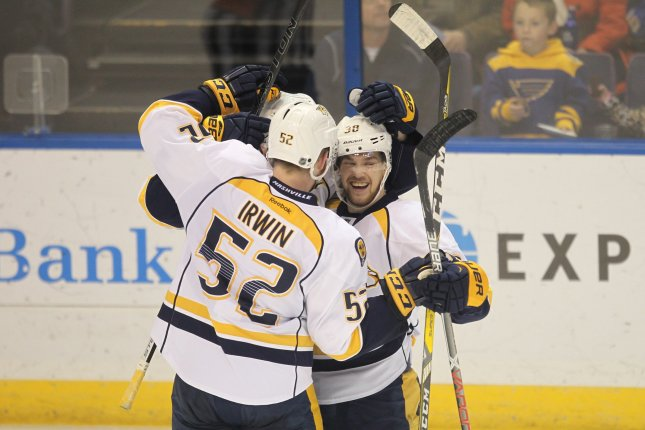 Viktor Arvidsson scored at 1:05 of overtime and Nashville defeated Washington 2-1 for its third straight victory. File Photo by Bill Greenblatt/UPI
