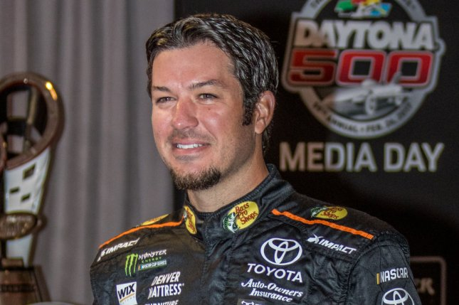 Martin Truex Jr. waits to answer questions at a press conference. File photo by Edwin Locke/UPI