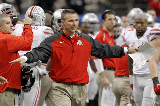 Ohio State Buckeyes head coach Urban Meyer reacts to a call during the Allstate Sugar Bowl playoff semifinal college football game against the Alabama Crimson Tide on January 1, 2015 at the Mercedes-Benz Superdome in New Orleans. File photo by A.J. Sisco/UPI