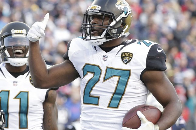 Jacksonville Jaguars running back Leonard Fournettte celebrates a touchdown run against the New England Patriots in the second quarter of the AFC Championship game at Gillette Stadium in Foxborough, Massachusetts on January 21, 2018. Photo by John Angelillo/ UPI