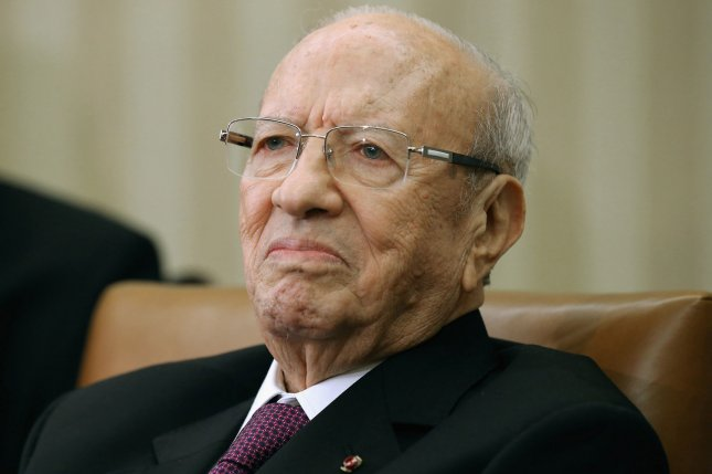 Tunisa President Beji Caid Essebsi is pictured during a visit with U.S. President Barack Obama at the White House on May 21, 2015. He died at the age of 92 after he was hospitalized Wednesday. File Photo by Chip Somodevilla/UPI