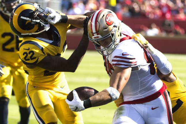 San Francisco 49ers tight end George Kittle had at least 50 total yards in 14 of his 16 games last season. File Photo by Terry Schmitt/UPI