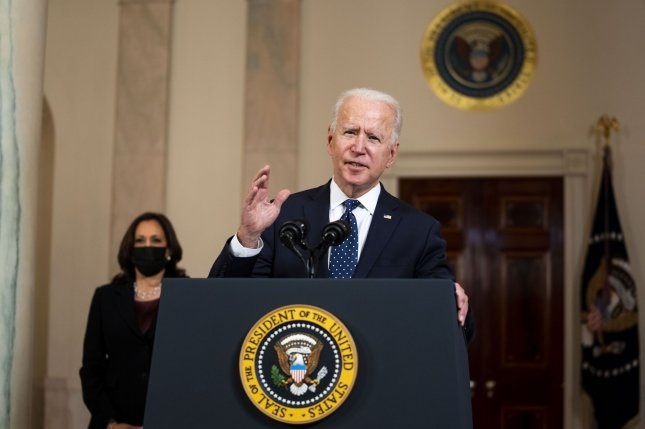 President Joe Biden's stock market returns in his first 100 days in office are better than any president in the past 75 years, according to a report by JPMorgan Chase.File photo by Doug Mills/UPI/Pool
