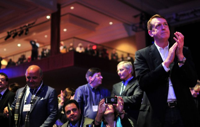 Members of the audience watch as Republican Presidential Candidate Mitt Romney speaks during the Conservative Political Action Conference (CPAC) in Washington, DC on February 10, 2012. UPI/Kevin Dietsch