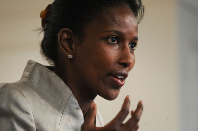 Author Ayaan Hirsi Ali speaks at a forum about her latest book Nomad: From Islam to America; A Personal Journey Through the Clash of Civilizations at the American Enterprise Institute for Public Policy Research (AEI) in Washington on June 2, 2010. UPI/Alexis C. Glenn