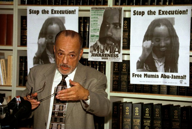 James Lafferty of the National Lawyers Guild announces a drive to stop the execution of Mumia Abu-Jamal and win him a new trial during a 1999 news conference in Los Angeles. At the time, Abu-Jamal was on Death Row but he is now serving a life sentence. UPI/Jim Ruymen/File