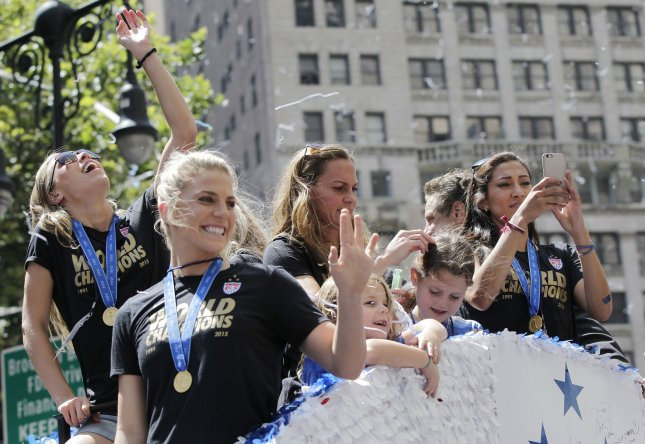 Players of the United States Women's Soccer team ride up the parade route when Mayor Bill de Blasio hosts a Canyon of Heroines Ticker-Tape Parade and Celebration in honor of the U.S. Women's Soccer Team following their victory in the FIFA World Championship in New York City on July 10, 2015. Following the Parade, the Mayor will host a special ceremony at City Hall to present members of the United States Women's National Soccer Team with keys to the City. Photo by John Angelillo/UPI