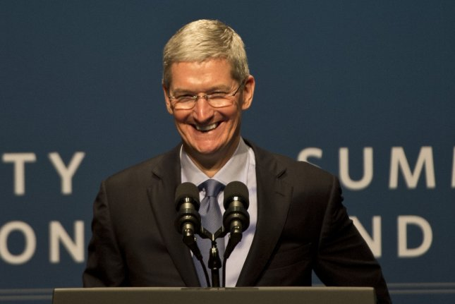 Apple CEO Tim Cook, shown here at a conference in February, said Sunday that the auto industry is due for a massive change. File Photo by Terry Schmitt/UPI