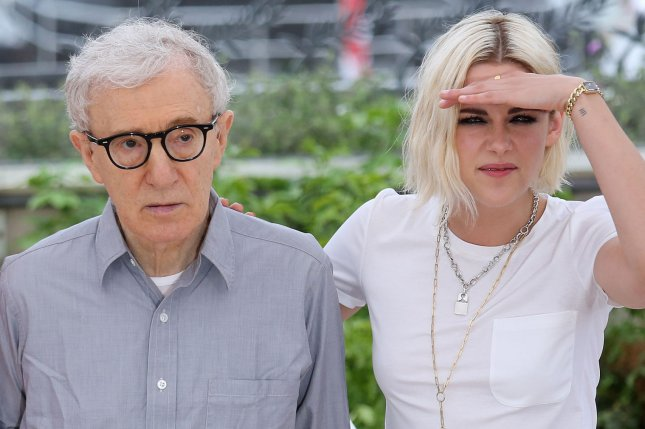 Woody Allen (L) and Kristen Stewart arrive at a photocall for the film Cafe Society during the 69th annual Cannes International Film Festival in Cannes, France on May 11, 2016. Photo by David Silpa/UPI