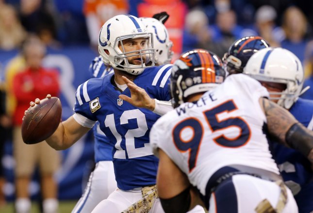 Indianapolis Colts quarterback Andrew Luck (12) throws under pressure during a game against the Denver Broncos in 2015. Photo by John Sommers II/UPI