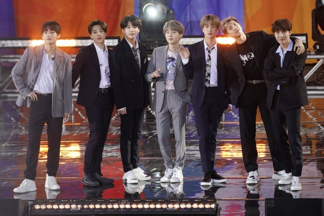 South Korean boy band BTS paid homage to The Beatles when appearing on The Late Show with Stephen Colbert. Photo by John Angelillo/UPI