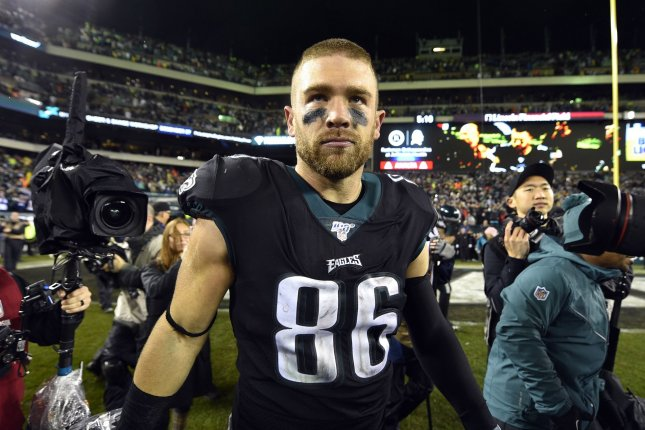 The Philadelphia Eagles' Zach Ertz leads NFL tight ends with 79 catches this season. Photo by Derik Hamilton/UPI