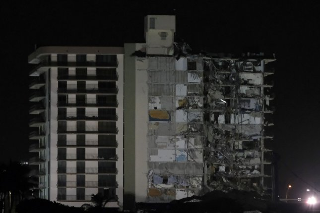 Rescue workers have suspended the search for victims due to the demolishing what is left of Champlain Towers South condo in Surfside, Fla., on Sunday. Photo By Gary I Rothstein/UPI