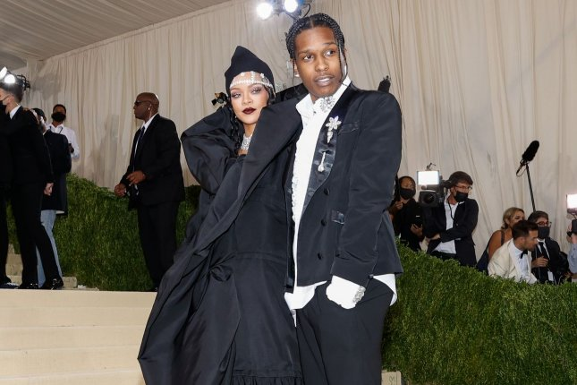 Rihanna (L), and her boyfriend, A$AP Rocky, arrive for the Met Gala at The Metropolitan Museum of Art celebrating the opening of In America: A Lexicon of Fashion on Monday. File Photo by John Angelillo/UPI