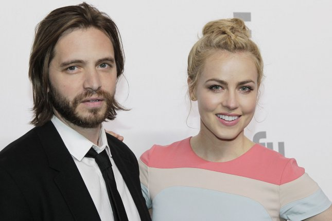 Amanda Schull and Aaron Stanford of 12 Monkeys arrive on the red carpet at the 2015 NBCUniversal Cable Entertainment Group Upfront in New York City on May 14, 2015. File Photo by John Angelillo/UPI
