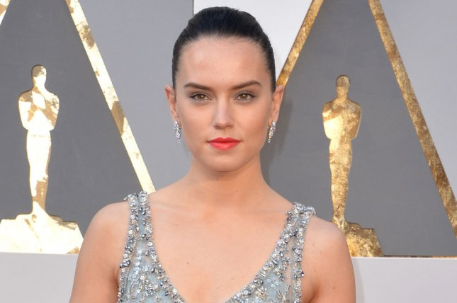Daisy Ridley arrives on the red carpet for the 88th Academy Awards on February 28, 2016. Ridley along with her Star Wars co-star Mark Hamill celebrated the wrapping of Episode VIII on social media. File Photo by Kevin Dietsch/UPI