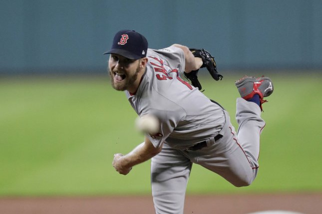 Chris Sale and the Boston Red Sox face the Toronto Blue Jays on Tuesday. Photo by Eric Gay/UPI