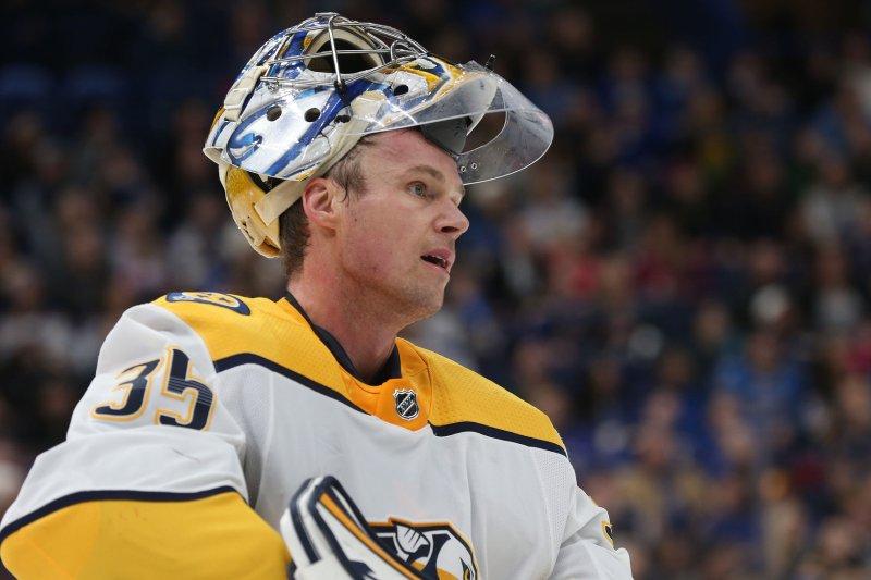 Nashville Predators goaltender Pekka Rinne of Finland. File photo by BIll Greenblatt/UPI