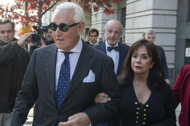 Former Trump campaign adviser Roger Stone leaves federal court with his wife Nydia after his conviction on all seven charges, in Washington, D.C., on November 15, 2019. File Photo by Pat Benic/UPI