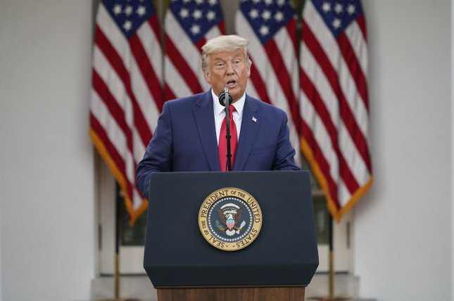 President Donald Trump delivers an update on Operation Warp Speed on the South Lawn of the White House in Washington, D.C., on Friday. Photo by Chris Kleponis/UPI