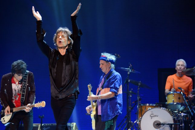 Ron Wood, Mick Jagger, Keith Richards and Charlie Watts (L-R) of the Rolling Stones performs It's Only Rock 'N' Roll (But I Like It) onstage as part of the group's '50 and Counting' tour at Staples Center in Los Angeles on May 20, 2013. UPI/Jim Ruymen