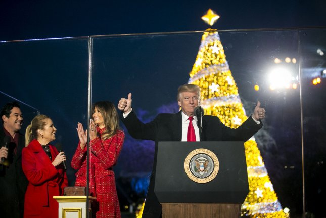 Spouses trump lit up the main Christmas tree of the country