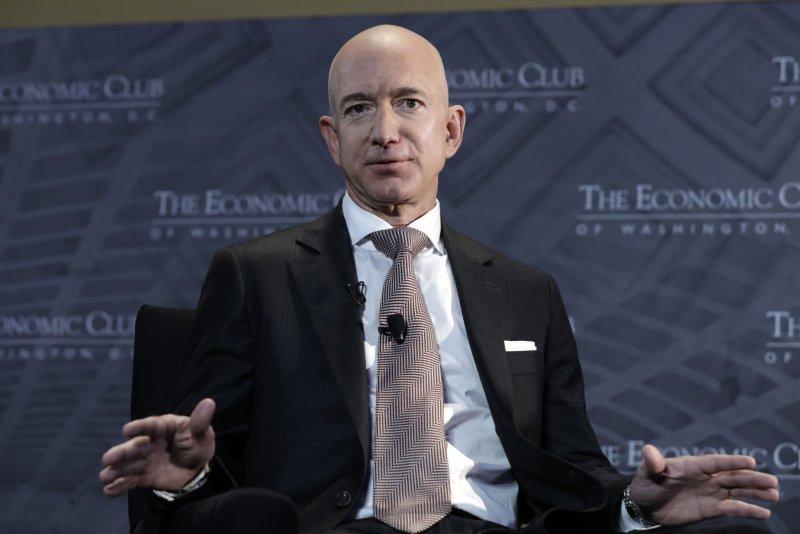 Jeff Bezos, CEO and Founder of Amazon, speaks at The Economic Club Milestone Celebration Dinner in Washington on September 13, 2018. Photo by Yuri Gripas/UPI