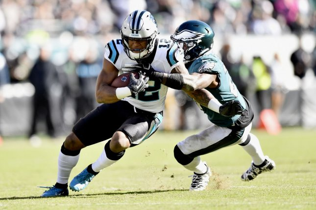 Carolina Panthers wide receiver D.J. Moore (12) runs the ball past Philadelphia Eagles strong safety Malcolm Jenkins (27) during the fourth quarter on October 21, 2018 at Lincoln Financial Field in Philadelphia. Photo by Derik Hamilton/UPI
