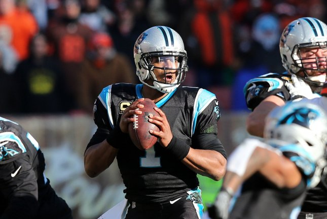 Carolina Panthers quarterback Cam Newton is recovering from shoulder surgery. Coach Ron Rivera shut down the idea of a team signing a free agent while speaking to reporters Thursday at the NFL scouting combine in Indianapolis. Photo by Aaron Josefczyk/UPI