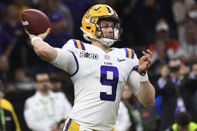 Former LSU quarterback Joe Burrow will likely receive a four-year contract worth more than $35 million if he is selected with the No. 1 overall pick in the 2020 NFL Draft, based on rookie contracts from previous drafts. File Photo by Pat Benic/UPI