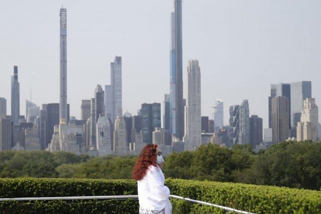 The New York City skyline is seen last Thursday from the rooftop garden of the Metropolitan Museum of Art. Photo by John Angelillo/UPI