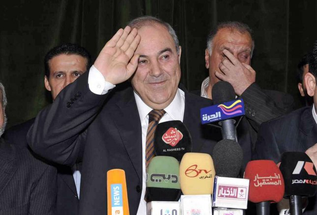 Iyad Allawi, former prime minister and head of the secular Iraqiya coalition, smiles during a media conference in Baghdad March 27, 2010. Secularist challenger Iyad Allawi's coalition won the most seats in Iraq's election, according to preliminary results on Friday, but the tight race foreshadowed long, divisive talks to form a new government. UPI Photos Ali Jasim