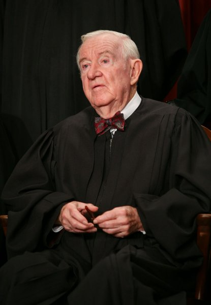 John Paul Stevens is seen after the Supreme Court Justices of the United States posed for their official family group photo and then allowed members of the media to take photos afterward on September 29, 2009, at the Supreme Court in Washington. UPI/Gary Fabiano/POOL