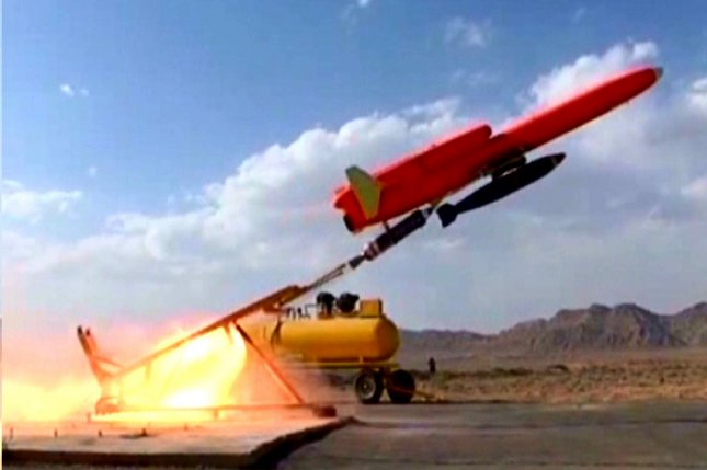 This picture released on August, 22, 2010 by the Iranian Defense Ministry shows the launch of Iran's new unmanned bomber aircraft, Karar, in Iran on August 22, 2010. UPI/STR